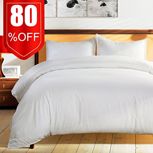 Bedding Duvet Cover Set Queen White -Premium With Zipper Closure Hotel Quality Hypoallergenic Wrinkle and Fade Resistant Ultra Soft -3 Piece-1 Soft Microfiber Duvet Cover Matching 2 Pillow Shams