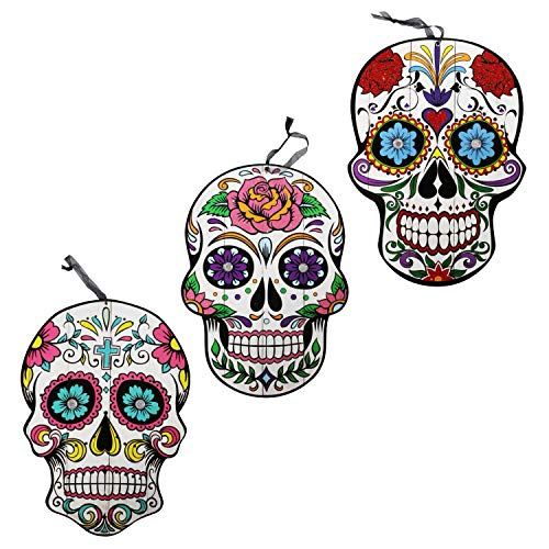 ML Warehouse Halloween Decor & Craft Collection 2019 (3 Day of The Dead Sugar Skull Hanging Wall Signs, 9.5x13.375