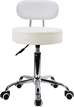 KKTONER PU Leather Rolling Stool with Mid Back Height Adjustable Office Computer Medical Home Drafting Swivel Task Chair with Wheels White
