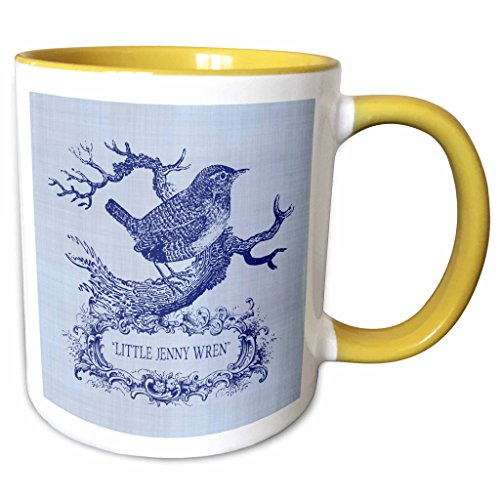 2 Tone Cartouche (3dRose Russ Billington Designs - Little Jenny Wren- pretty little bird and cartouche in blue - 11oz Two-Tone Yellow Mug (mug_220311_8))