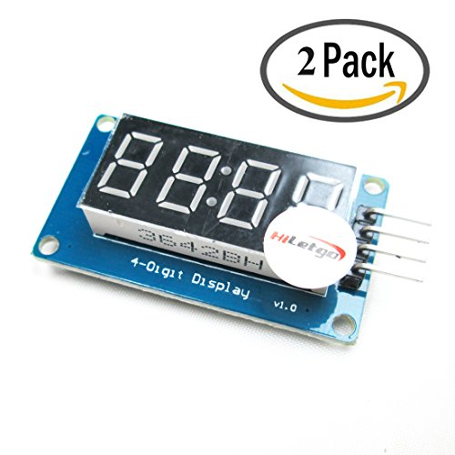 HiLetgo 4 Bits Digital Tube LED Segment Display Module With Clock Display Red Common Anode For Arduino UNO R3 (Pack of 2PCS) (4 Link Tube)