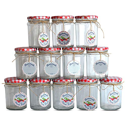 Farmers Market Jelly Jars, Set of 12, Gift Tags, Twine, Red and White Gingham Screw Tops, 3 1/4 Diameter x 4 1/2 Tall Inches, Classic Faceted Canning Mason Glass, Food Safe, by WHW