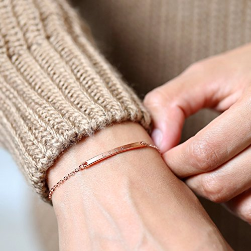 A Dainty Name Bar Bracelet Initial Jewelry Perfect Gift Gift For Women Best Friend Gift Gifts For Mom Christmas Gift for Women 1 Day Shipping - (14k Mom Charm Bracelet)