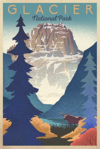 Glacier National Park - Mountain Scene - Lithograph (16x24 Giclee Gallery Print, Wall Decor Travel Poster)