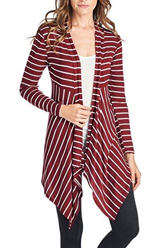 Beachcoco Women's Open-Front Stripe Rib-Cardigan (L, Burgundy)