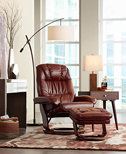 Modern Arc Floor Lamp Bronze Off White Linen Drum Shade Adjustable for Living Room Reading Bedroom Office - Possini Euro Design
