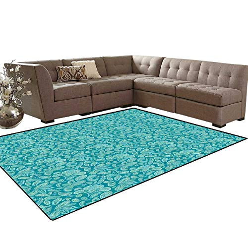 (Ethnic Door Mats Area Rug Leaves Vintage Pastel Paisley Old Fashioned Historical Motifs in Blue Shades Anti-Skid Area Rugs 6'x9' Turquoise Teal)