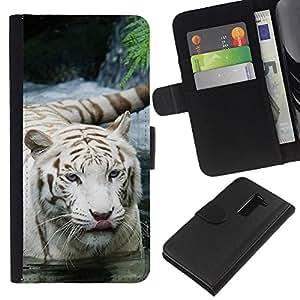 LG G2 D800 D802 D802TA D803 VS980 LS980 , la tarjeta de Crédito Slots PU Funda de cuero Monedero caso cubierta de piel ( Tiger Snow White Nature Indian African Furry)