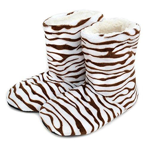 Nollia Kvinners Zebra Print Huset Tøffelen Sokker