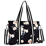 MOSISO Laptop Tote Bag (Up to 17.3 Inch), Canvas Classic Multifunctional Work Travel Shopping Duffel Carrying Shoulder Handbag Compatible Notebook, MacBook, Ultrabook and Chromebook, Black Base Peony