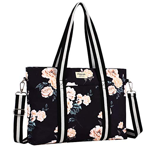 MOSISO Laptop Tote Bag (Up to 17.3 Inch), Canvas Classic Multifunctional Work Travel Shopping Duffel Carrying Shoulder Handbag Compatible Notebook, MacBook, Ultrabook and Chromebook, Black Base Peony - Notebook Bag Laptop