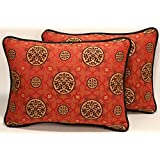 """A set of 2 12"""" by 16"""" Bridgetown Washed Chinese Red and Black Floral Pattern Made in the USA Designer Throw Pillows and Forms"""