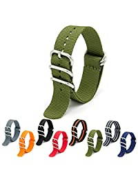 CIVO Heavy Duty G10 Zulu Military Watch Bands NATO Premium Ballistic Nylon Watch Strap 5 White Rings with Stainless Steel Buckle 20mm 22mm 24mm (army green, 24mm)