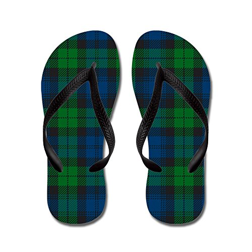 CafePress - Black Watch Tartan Plaid - Flip Flops, Funny Thong Sandals, Beach Sandals