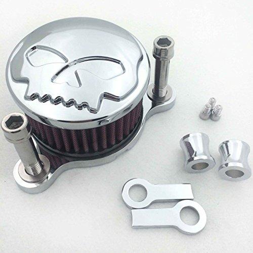 XKMT GROUP Chromed Skull Air Cleaner Intake Filter System Kit For Harley Sportster XL883 XL1200 1988 1989 1990 1991 1992 1993 1994 1995 1996 1997 1998 1999 2010 2011 2012 2013 2014 (Skull Air Cleaner Kit)