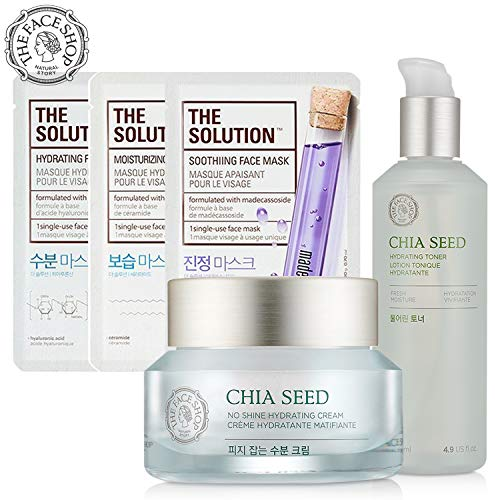 [THEFACESHOP] Hydrating Facial Set with Toner, Moisturizer Cream, and Facial Masks - Amazon Exclusive Gift Set