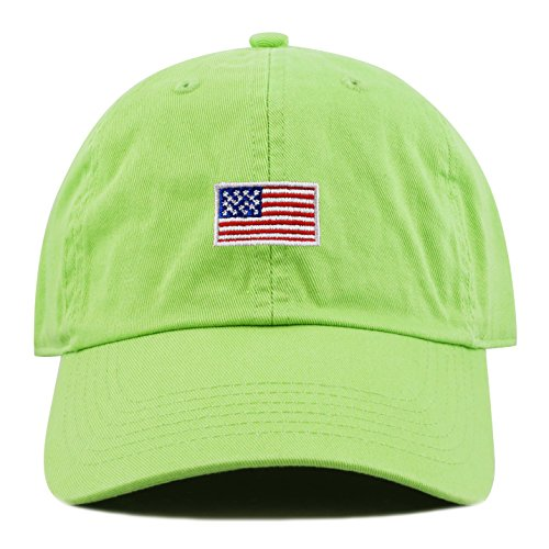 - THE HAT DEPOT Kids American Flag Washed Low Profile Cotton and Denim Plain Baseball Cap Hat (6-9yrs, Lime Green)