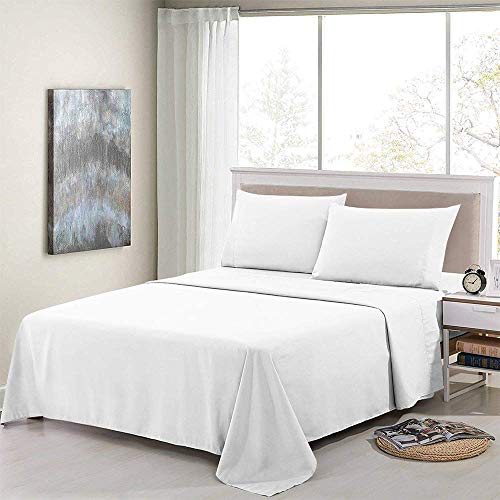 Cotton Sheets - 4-Piece Long-Staple Combed Cotton Best-Bedding Sheets for Bed, Breathable Size - 48