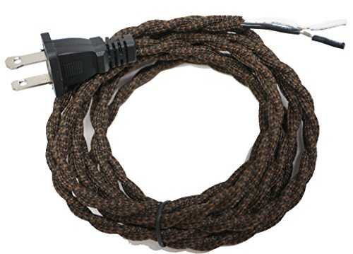 - Twisted Rayon Cloth Covered Electric Lamp Cord with Polarized End Plug, Stripped Ends Ready for Wiring 8 feet long