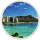 Pixels Round Beach Towel With Tassels featuring ''Hotels On The Beach, Waikiki Beach'' by Pixels