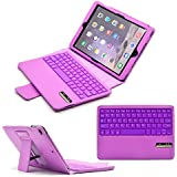 【F.G.S】パープル iPad Air2 キーボード カバー付き Bluetooth ワイヤレスキーボード キーボード分離可能なデザイン【全四色】 F.G.S正規代理品