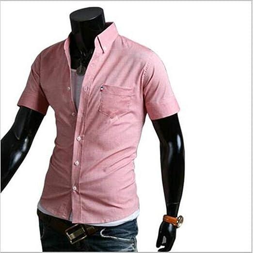 NSSY Camisa de Hombre Camisas de Bolsillo de Verano para Hombres de Negocios Camisa de Color Liso, Manga Corta, Vestido Ajustado para Hombre, XXXL: Amazon.es: Hogar