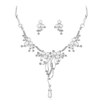1750543cdd6b OOFAY Collar de Perlas de la Novia Conjunto