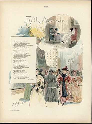 5th Avenue Beautiful Fashionable Pedestrians 1894 antique color lithograph - Of 5th Map Avenue