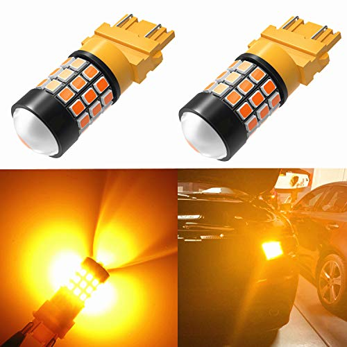 (Alla Lighting Super Bright LED 3157 Bulb High Power 2835-SMD 4157 3457 3156 3057 3157 LED Bulb for Turn Signal Blinker Light Bulbs Replacement- Compatible Standard & CK Type, Amber Yellow (Set of 2) )