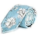 Pursuit Apparel Skinny Tie Hand Made Men's Cotton Printed Floral Neck Tie (Hibiscus)
