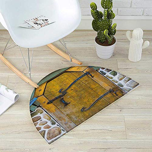 "Rustic Bath mats for Floors Antique Style Door of a Stone House in The Countryside Entrance Architecture Vintage Bathroom Mats Half Moon H 35.4"" xD 53.1"" Multicolor"