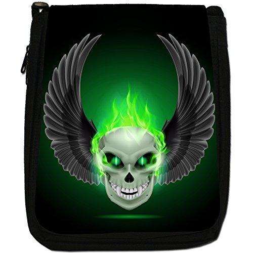Flaming Fire Canvas Bag Size Medium Green Black Skulls Shoulder wzw7BqC6x