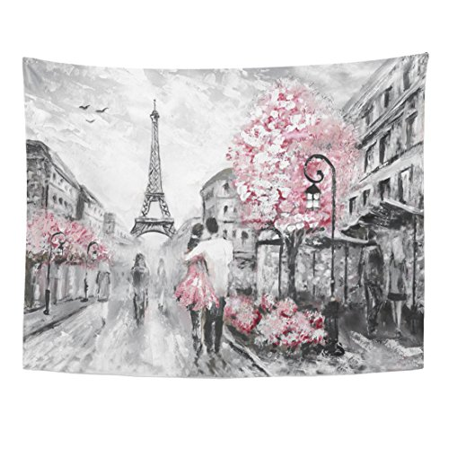 (TOMPOP Tapestry Watercolor Oil Painting Street View of Paris European City Home Decor Wall Hanging for Living Room Bedroom Dorm 60x80 Inches)