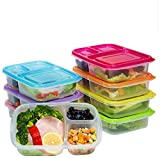 vege washer - Meal Prep Containers 3 Compartment,7 Pack Bento Lunch Box Portion Control,Food Storage with Lids,Stackable,Reusable,Microwave,Dishwasher,Freezer Safe(26oz)