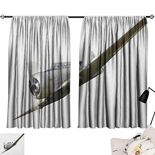 - Aurauiora Long Curtains Vintage Airplane,Historical Vintage Twenties Aircraft Flying Fighter Propeller Wing Tech, Grey White 72