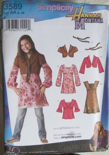 SIMPLICITY PATTERN 3589 HANNAH MONTANA GIRLS/GIRLS PLUS DRESS MINI DRESS OR TUNIC AND TOP, JACKET WITH SLEEVE VARIATIONS AND SCARF SIZE AA 8-16 (Hannah Montana Scarf)