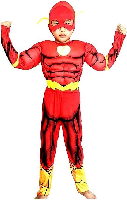 Disfraz de Flash - Busto musculoso - Superhéroe y máscara - Niños ...