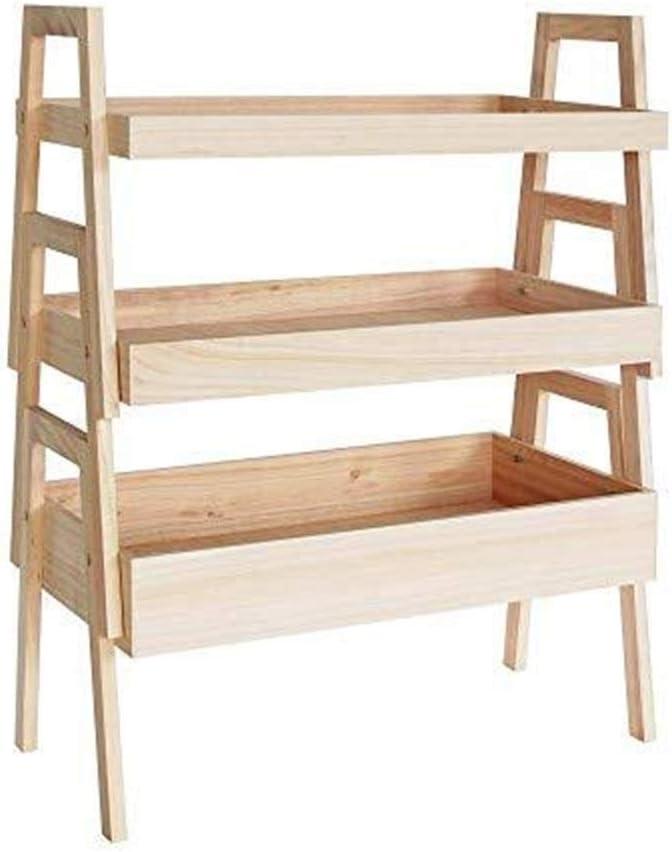 XKJPShop 3層木製のはしご棚シンプルな木製の床多層ラックリビングルームの寝室収納棚花 居間、浴室、寝室、家