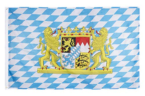 Juvale Bavarian Oktoberfest Flag - 2-Piece Bavaria Flags, German Theme Party Decoration, Polyester with Outdoor Flag Pole Metal Grommets, 59 x 35