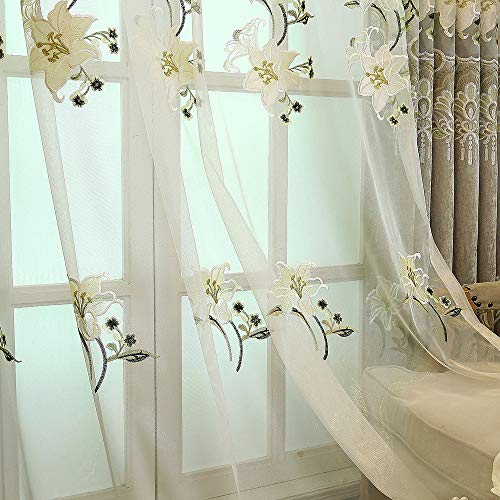 (pureaqu Grommet Semi Sheer Curtains for Sliding Glass Door European Style Lily Floral Embroidered Voile Curtain Window Treatment Tulle Panel Drapes for Living Room/Bedroom 1 Panel 52Wx84L inch)