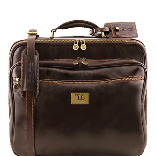 Tuscany Leather Varsavia Two Wheels Leather pilot case Dark Brown by Tuscany Leather