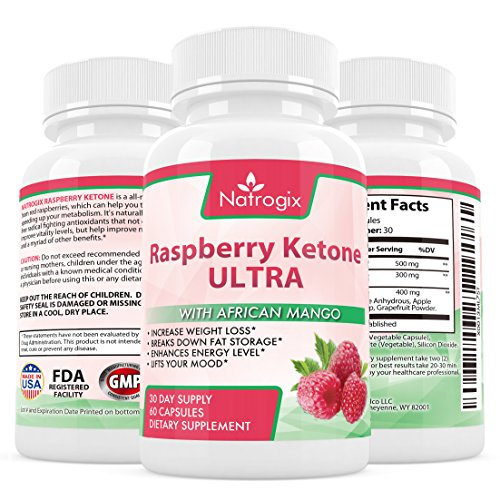 Natrogix Raspberry Ketone Formula - ULTRA Antioxidants Blend for Weight Loss Break Down Fat Storage Rev Up Metabolism Enhance Energy Level Made in USA (60 Capsules).