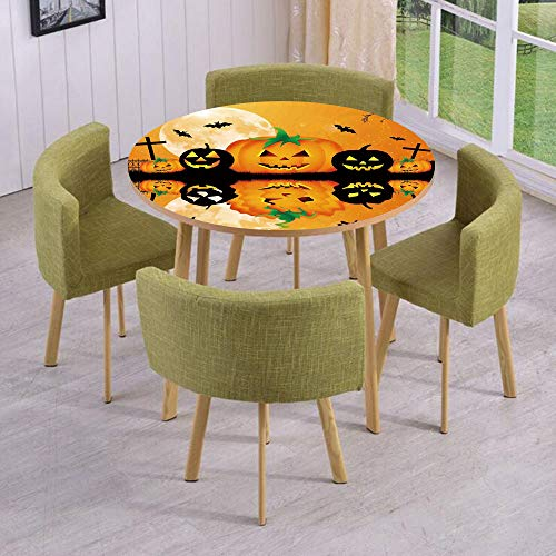 iPrint Round Table/Wall/Floor Decal Strikers/Removable/Spooky Carved Halloween Pumpkin Full Moon with Bats and Grave Lake/for Living Room/Kitchens/Office -