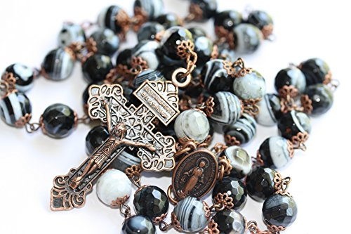 Large Black and White Striped Agate in Copper Bead Rosary Made in Oklahoma ()