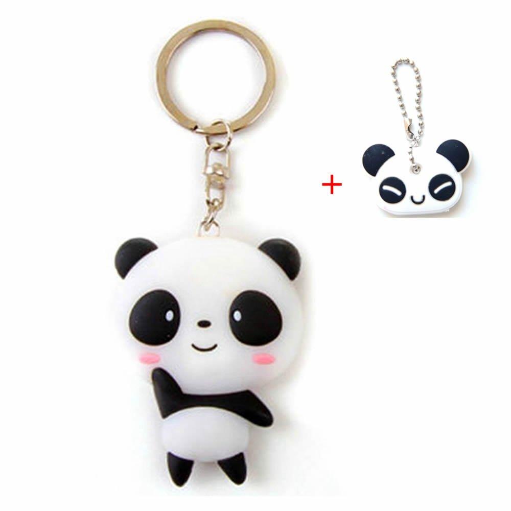 GOOTRADES Pack of 5 Silicone Cartoon Panda Keychain Pendant with 1 Pcs Key Caps