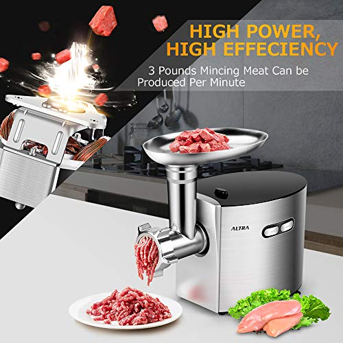 ALTRA Electric Meat Grinder, Stainless Steel Meat Mincer & Sausage Stuffer,【2000W Max】ETL Approved with 3 Grinding Plates, 2 Blades, Sausage & Kubbe Kit, Kitchenaid & Commercial Use, Silver by Altra (Image #2)