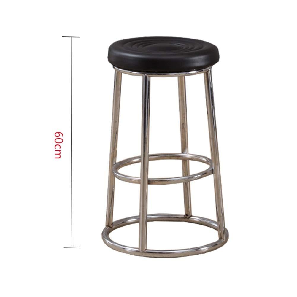 Black pattern 60cm A WEIYV-Barstools,bar Chair Solid Wood bar Stool Modern Minimalist Wrought Iron bar Stool Round bar American bar Stool high Stool Personality Family seat American bar Stool