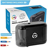LD Products Professional, Home & Office Automatic Electric Pencil Sharpener – Batteries & Wall Power Supply Included, Ideal for Regular, No. 2 and Colored Pencils, Small, Durable, Kid Friendly