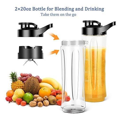 HERRCHEF Smoothie Blender, Personal Blender for Shakes and Smoothies, 350W Single Serve Portable Blender with 2 Tritan BPA-Free 20Oz Travel Bottles