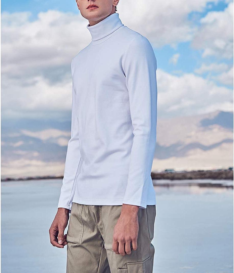 Turtleneck Long Sleeve T Shirts Men Winter Cotton Black Slim Business Casual Basic Pullover Plus Size Oversize